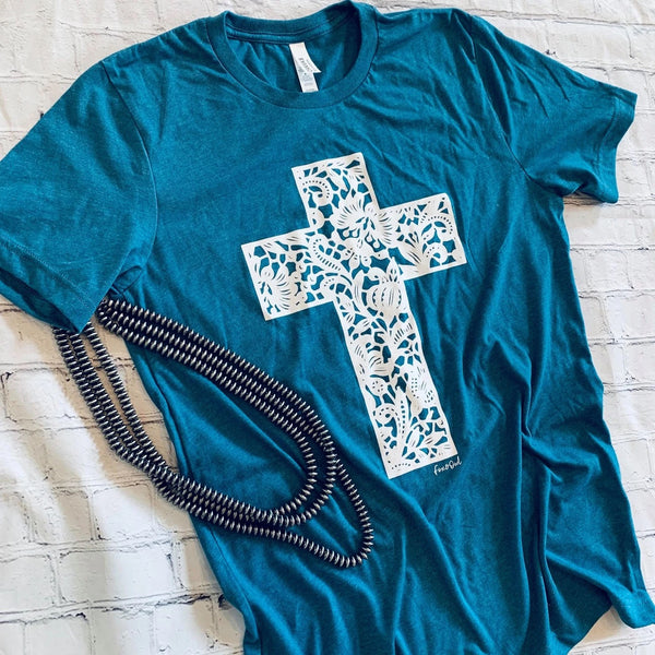 FLORAL LACE CROSS GRAPHIC TEE IN HEATHER TEAL-Graphic Tees-MODE-Couture-Boutique-Womens-Clothing