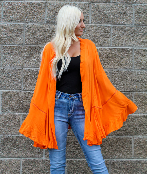HELLO HAVANA WIDE SLEEVE CARDIGAN IN ORANGE-Cardigans-MODE-Couture-Boutique-Womens-Clothing