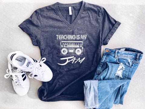 TEACHING IS MY JAM V-NECK GRAPHIC TEE IN CHARCOAL-Graphic Tees-MODE-Couture-Boutique-Womens-Clothing