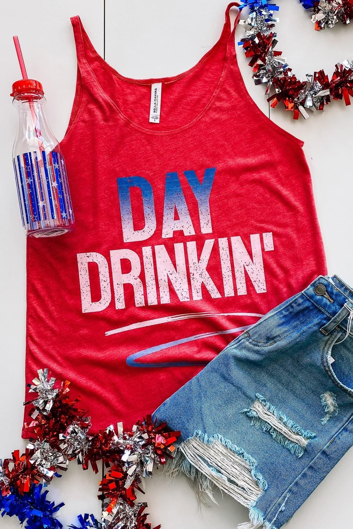 DAY DRINKIN' THIN STRAP TANK IN RED-MODE-Couture-Boutique-Womens-Clothing