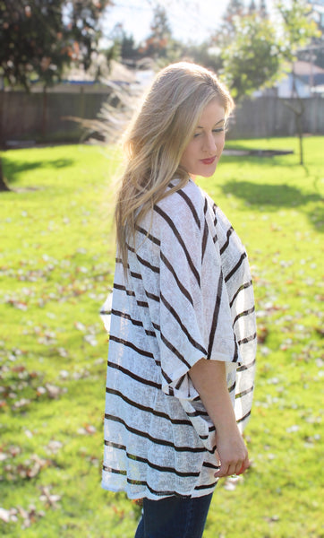 KAYLEE STRIPED SHORT SLEEVE CARDIGAN IN BLACK & WHITE-Cardigans-MODE-Couture-Boutique-Womens-Clothing