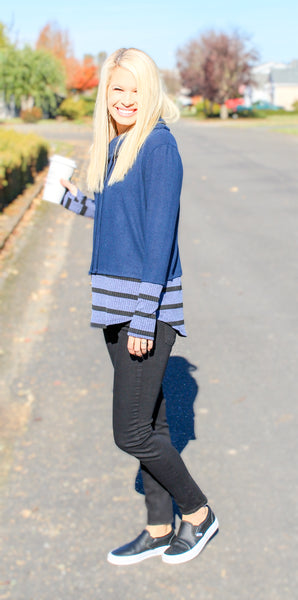 TAKE IT EASY STRIPED CONTRAST COWL NECK TOP IN BLUE-Tops-MODE-Couture-Boutique-Womens-Clothing