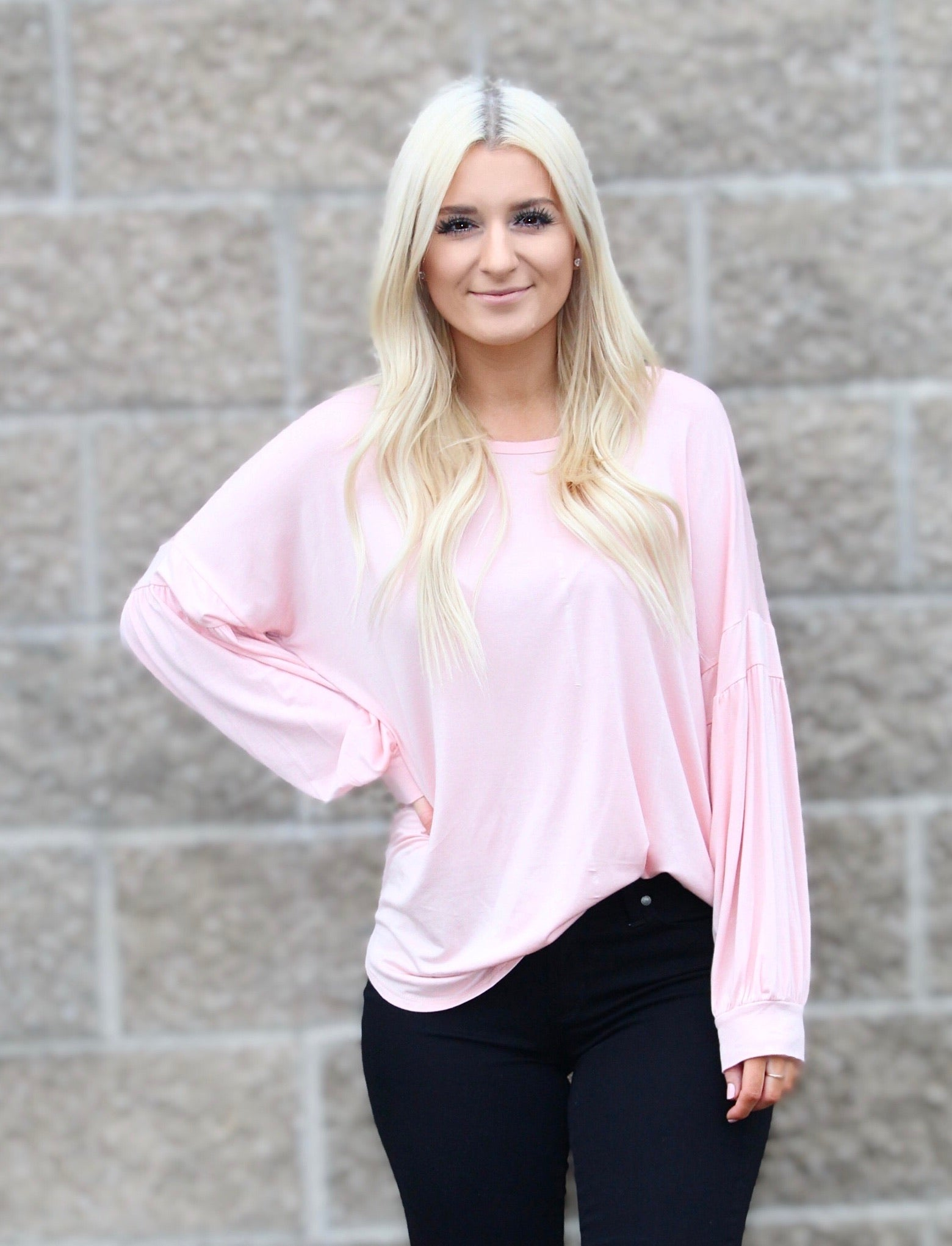 ELSA PUFF SLEEVE TUNIC TOP IN PINK-Tops-MODE-Couture-Boutique-Womens-Clothing