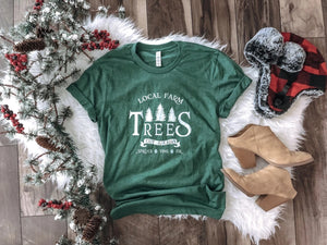 LOCAL FARM TREES HOLIDAY GRAPHIC TEE IN GREEN-Graphic Tees-MODE-Couture-Boutique-Womens-Clothing