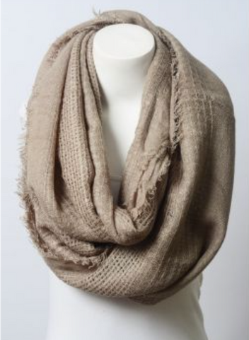 WINTER WONDERLAND OPEN GRID FRAYED TRIM INFINITY SCARF IN MOCHA-Scarves-MODE-Couture-Boutique-Womens-Clothing