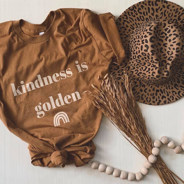 KINDNESS IS GOLDEN GRAPHIC TEE IN GOLDEN CAMEL-Graphic Tees-MODE-Couture-Boutique-Womens-Clothing