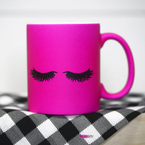 LASHES HOT PINK CERAMIC MUG-Mugs-MODE-Couture-Boutique-Womens-Clothing