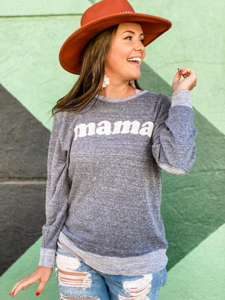 MAMA FRENCH TERRY PULLOVER IN NAVY-Graphic Sweatshirt-MODE-Couture-Boutique-Womens-Clothing