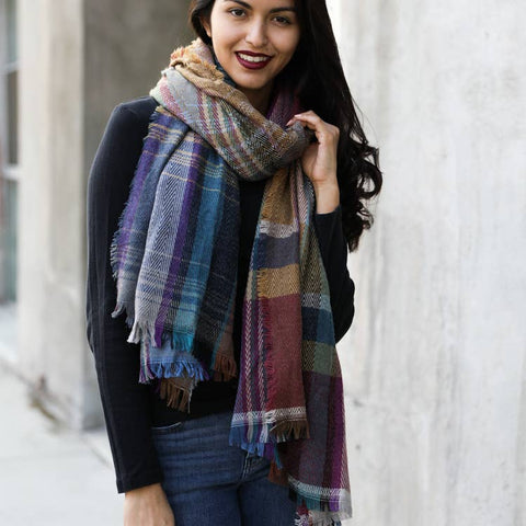 FALLING FOR YOU MULTI COLOR PLAID SCARF IN CAMEL-Scarves-MODE-Couture-Boutique-Womens-Clothing