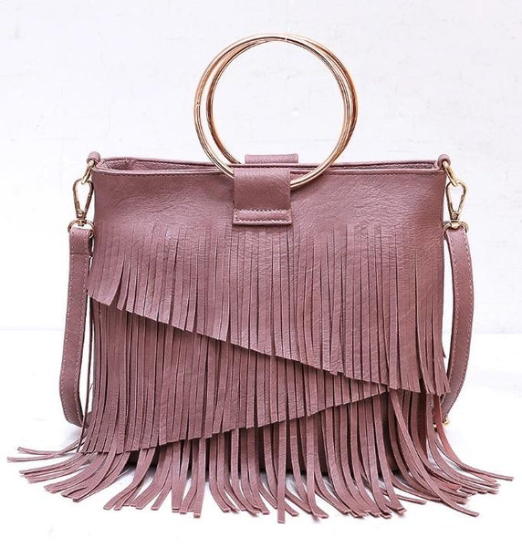 SASHA FRINGE LEATHER BAG IN PINK-Purses-MODE-Couture-Boutique-Womens-Clothing