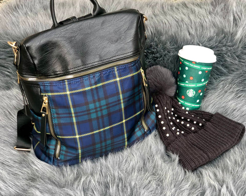 YOU PLAID ME AT HELLO BACKPACK IN HUNTER GREEN-BACKPACKS-MODE-Couture-Boutique-Womens-Clothing
