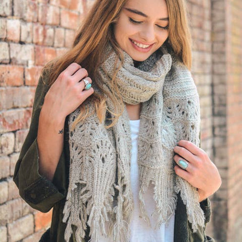 LET IT SNOW SCALLOP LACE KNIT SCARF IN MOCHA-Scarves-MODE-Couture-Boutique-Womens-Clothing