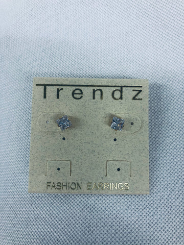Square Crystal Studs- Gold