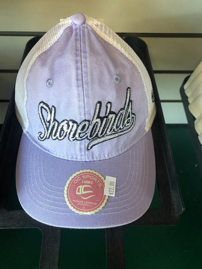Delmarva Shorebirds Women's Jackie Adjustable Trucker Cap White/Lilac