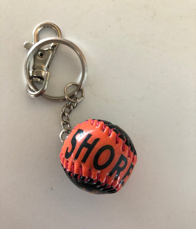 Black/Orange Sherman Baseball Keychain
