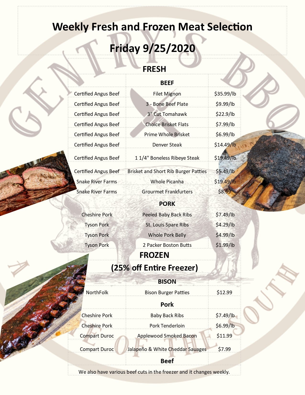 Friday 9-25-2020 Meat Selection