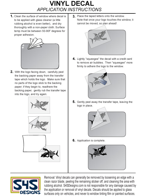 Vinyl Decal Application Instructions - S4S Designs