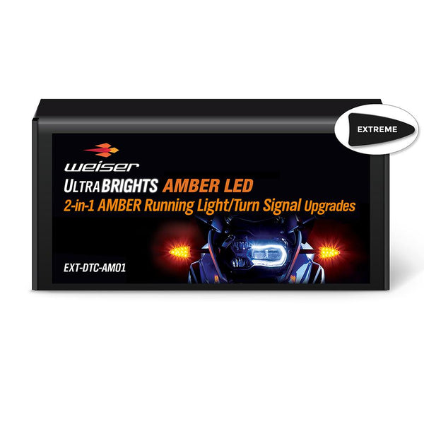 ULTRABRIGHTS LED 2-in-1 Amber Running Light/Turn Signal Upgrades for newer BMW motorcycles 2006-present (EXT-DTC-AM01) Image 1