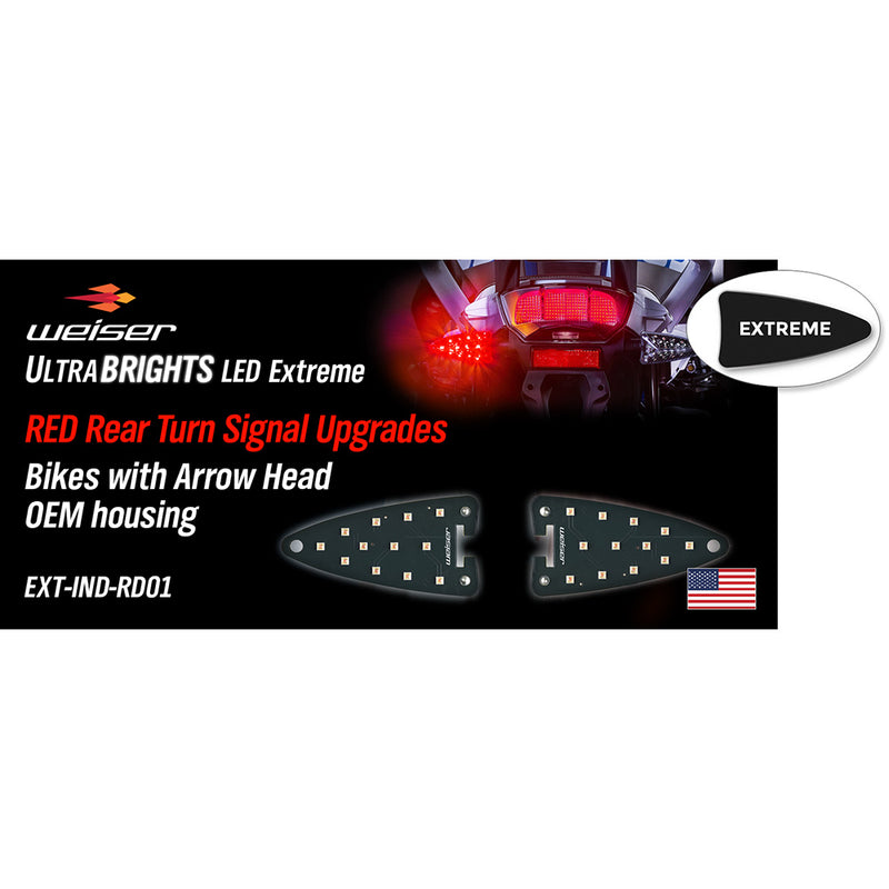 EXT-IND-RD01 EXTREME LED RED Rear Turn Signal upgrades for newer Aprillia, KTM, Triumph, BMW, Zero motorcycles (and more). (USA Market Only)