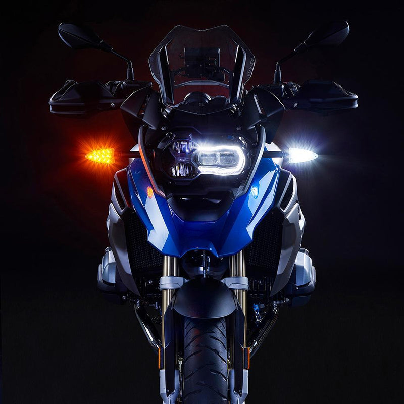 EXT-DTC-BM01 EXTREME 2-in-1 LED WHITE Driving Light/AMBER Turn Signal upgrades for newer BMW motorcycles 2006-present.