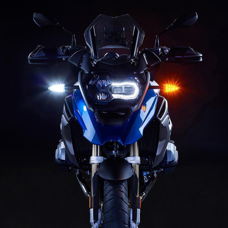 EXT-DBT-RG01-CMB EXTREME 2-in-1 LED WHITE Driving Light/AMBER Turn Signal and RED Brake Light/RED Rear Turn Signal upgrades. Complete front and rear kit for newer Aprilia, KTM, Triumph, BMW, Zero Motorcycles (and more). (USA Market Only)