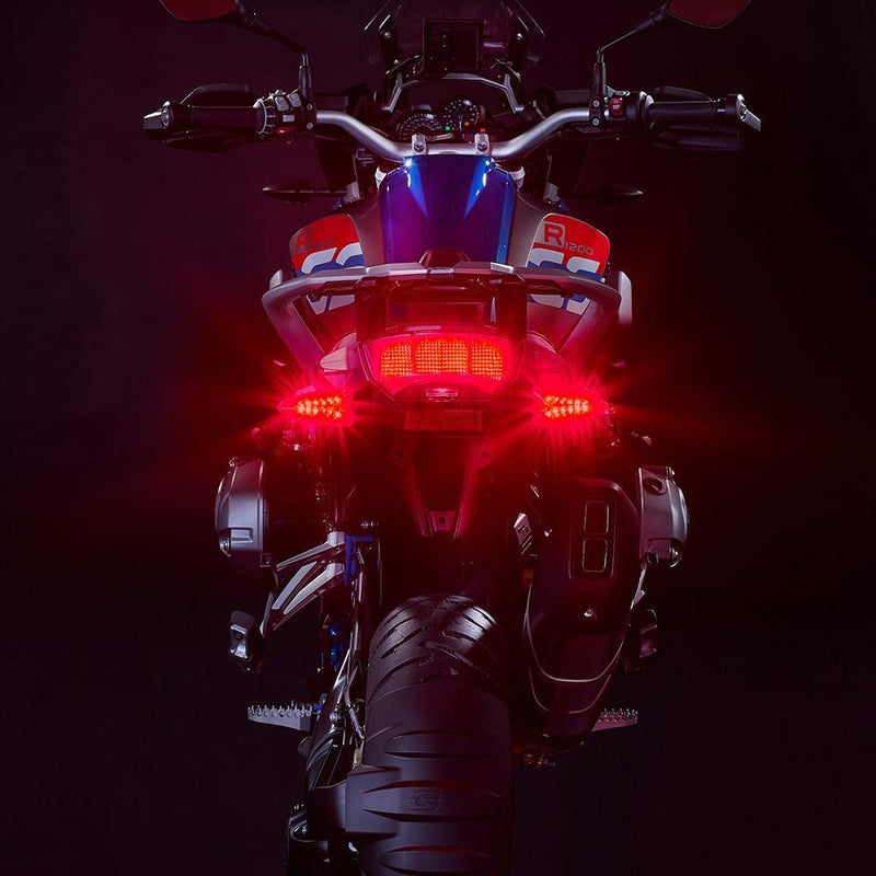 ULTRABRIGHTS LED EXTREME 2-IN-1 DRIVING LIGHT/TURN SIGNAL AND BRAKE LIGHT/RED TURN SIGNAL UPGRADES. COMPLETE FRONT AND REAR KIT FOR NEWER BMW MOTORCYCLES 2006-PRESENT (EXT-DBT-RD01-CMB)