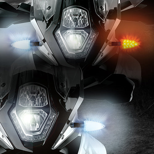 EXT-DBT-BM01-CMB. EXTREME 2-in-1 LED WHITE Driving Light/AMBER Turn Signal and RED Brake Light/AMBER Turn Signal upgrades. Complete front and rear kit for newer BMW motorcycles 2006-present.