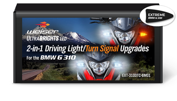EXT-310DTC-BM01 EXTREME 2-in-1 LED WHITE Driving Light/AMBER Turn Signal upgrades for BMW G310 motorcycles.