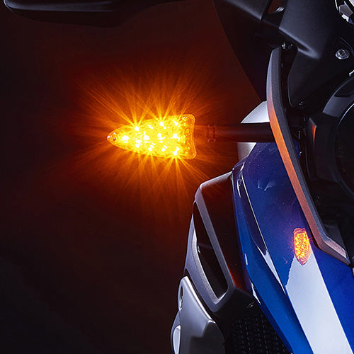 EXT-DTC-AM01 EXTREME 2-in-1 LED AMBER Running Light/AMBER Turn Signal upgrades for newer Aprilia, KTM, Triumph, BMW, Zero motorcycles (and more).