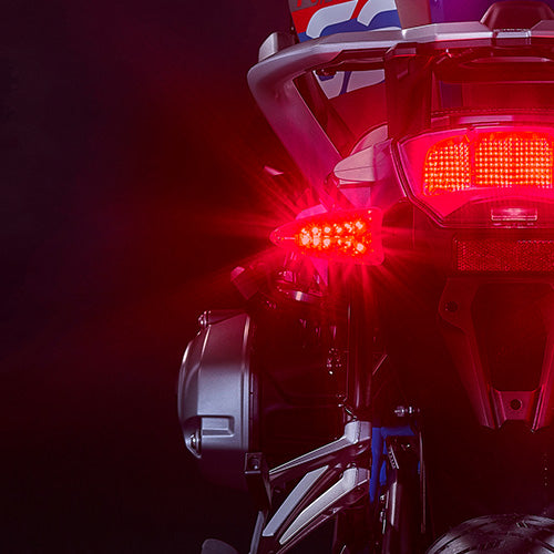 EXT-BTC-GE01 EXTREME 2-in-1 LED RED Brake Light/AMBER Turn Signal upgrades for newer Aprilia, KTM, Triumph, BMW, Zero motorcycles and more.