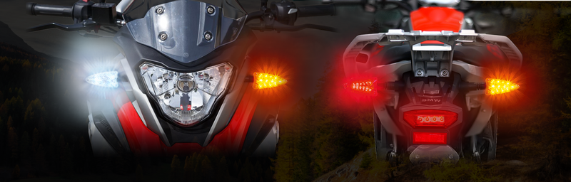 EXT-310DBT-BM01-CMB  EXTREME 2-in-1 LED WHITE Driving Light/AMBER Turn Signal and RED Brake Light/AMBER Turn Signal upgrades. Complete front and rear kit for BMW G310 motorcycle