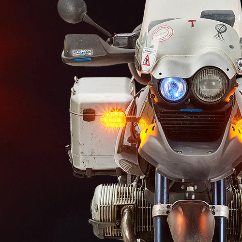 LG2-DTC-BM01 LEGACY II 2-in-1 LED WHITE Driving Light/AMBER Turn Signal upgrades for BMW R and K series motorcycles 1993-2004.