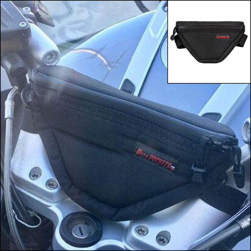 "MotoPOCKET Handlebar Bag – R1200 RT, R1250 RT, K1600 and Yamaha FJR Models  9"" x 5.5"" x 2"""
