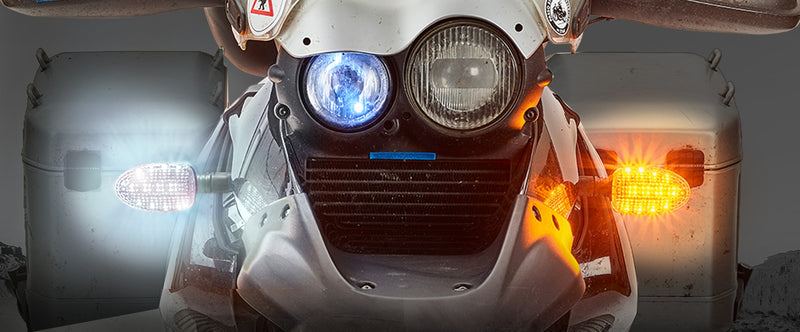 ULTRABRIGHTS LED Legacy II 2-in-1 Driving Light/Turn Signal Upgrades for BMW R and K series motorcycles 1993-2004 (LG2-DTC-BM01)