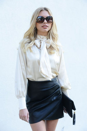 Satin Blouse with Bow Tie Top