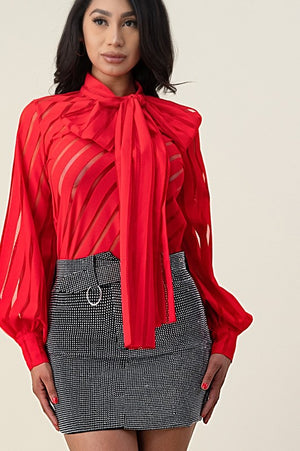 Puff Sleeve Blouse Bow Tie Mesh Blouse
