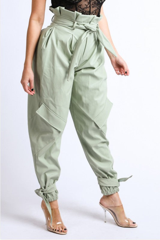 Seduce Faux Leather Cargo Pants