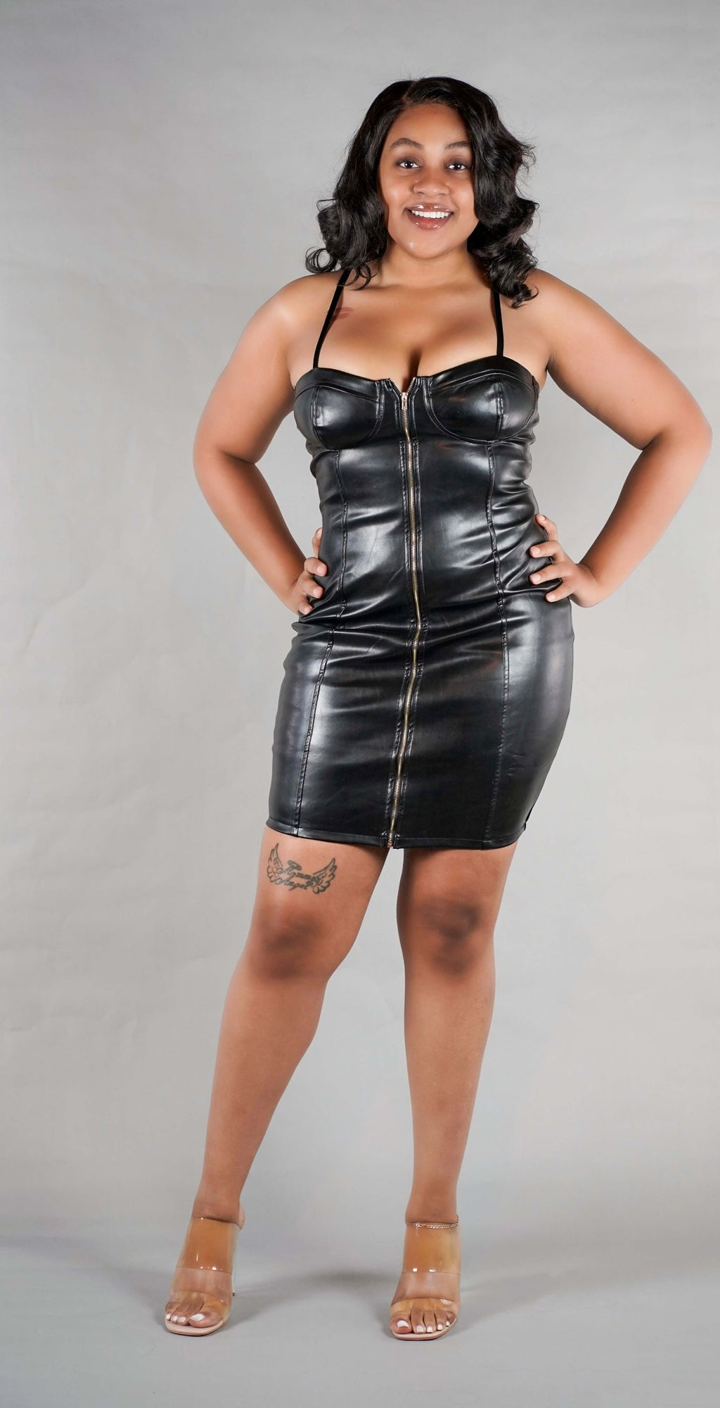 Sweetheart Dress - Faux Leather