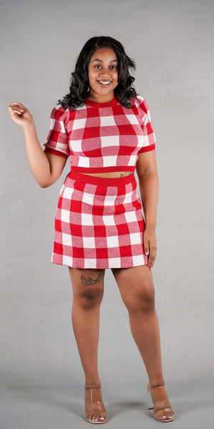 Valley Girl Checkered Skirt Set
