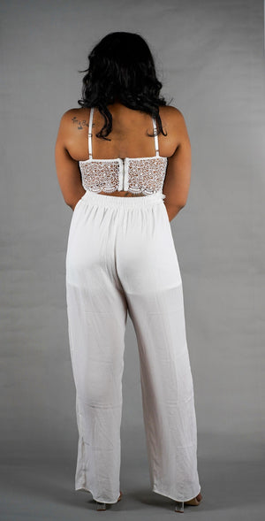 Winter White Lace Jumpsuit