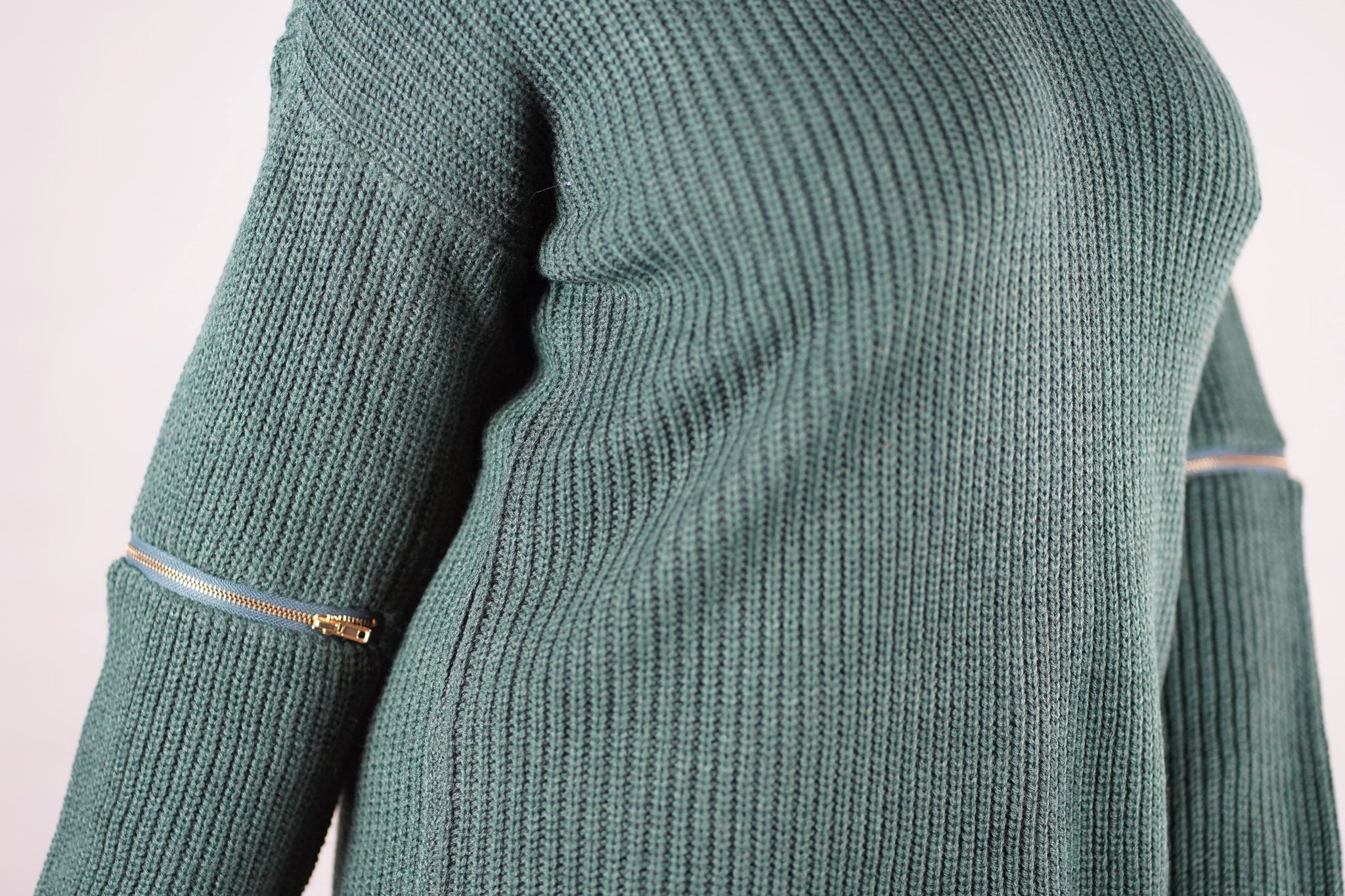 Green Zipper Sleeve Sweater