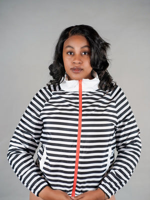 Black and White Striped Windbreaker