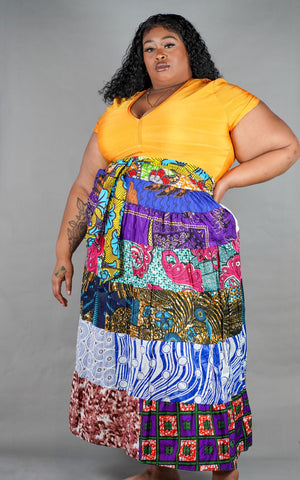 India Mixed Print Patchwork Skirt
