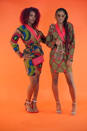 Abimbola Peplum Suit w/ Skirt - Okun -Strength- Collection (Red, Green, & Blue)