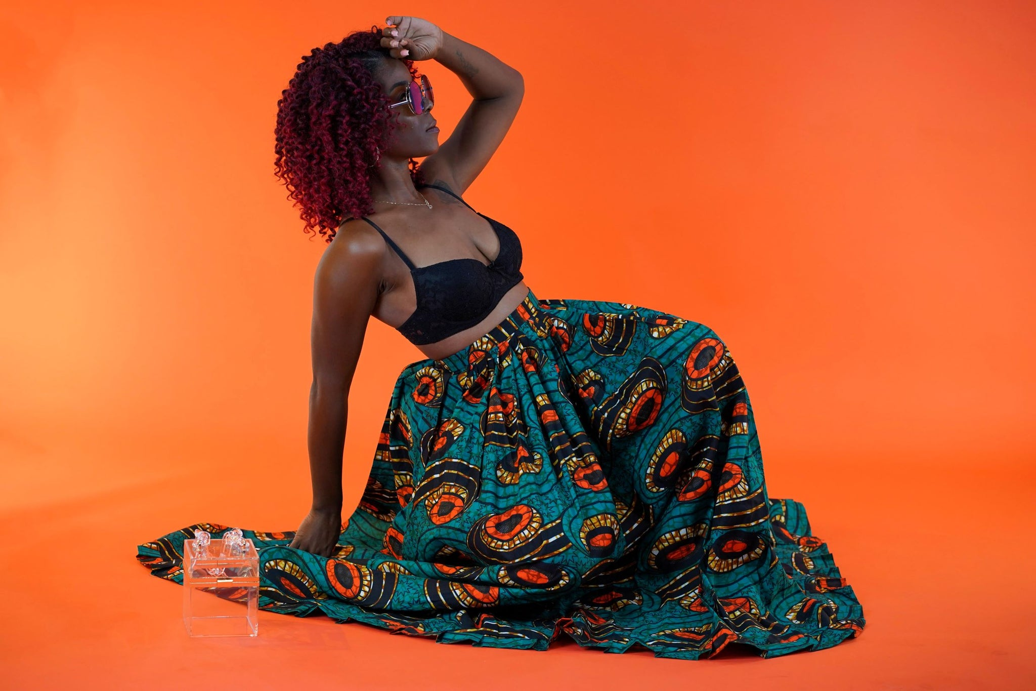 Mayowa Wrap Skirt - Okun -Strength- Collection (Green, Orange, & Brown)