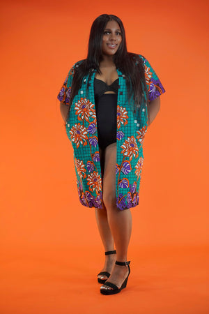 Adesola (Sola) Jacket SWAROVSKI Stoned - Okun -Strength- Collection (Teal & Orange)