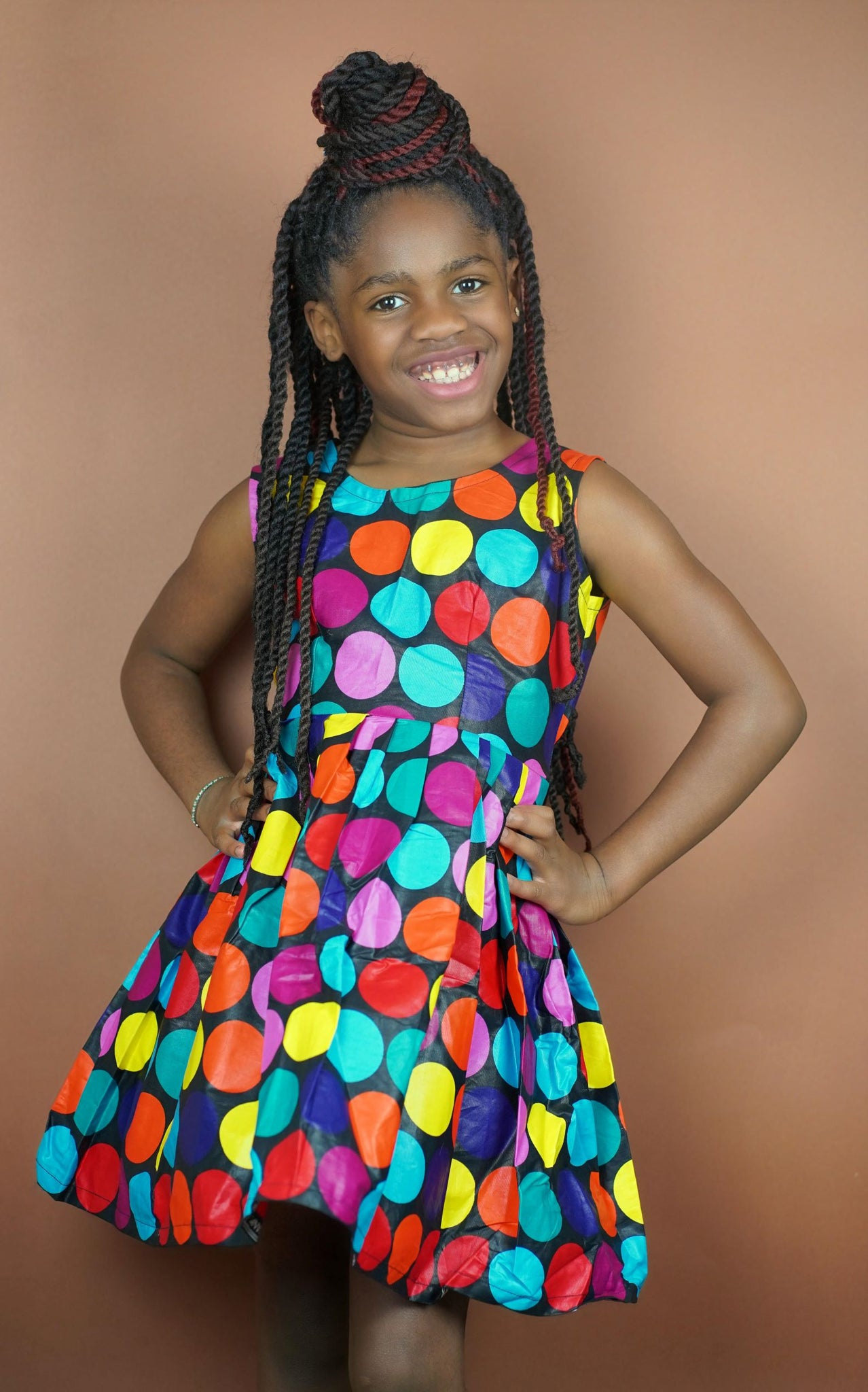 Mobo Keyhole Back Kids Dress - Okun -Strength- Collection (Polka Dots)