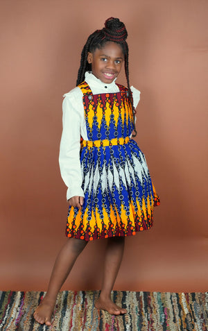 Olabisi Overall Skirt (Kids)   - Okun -Strength- Collection (Blue, Yellow, Red)