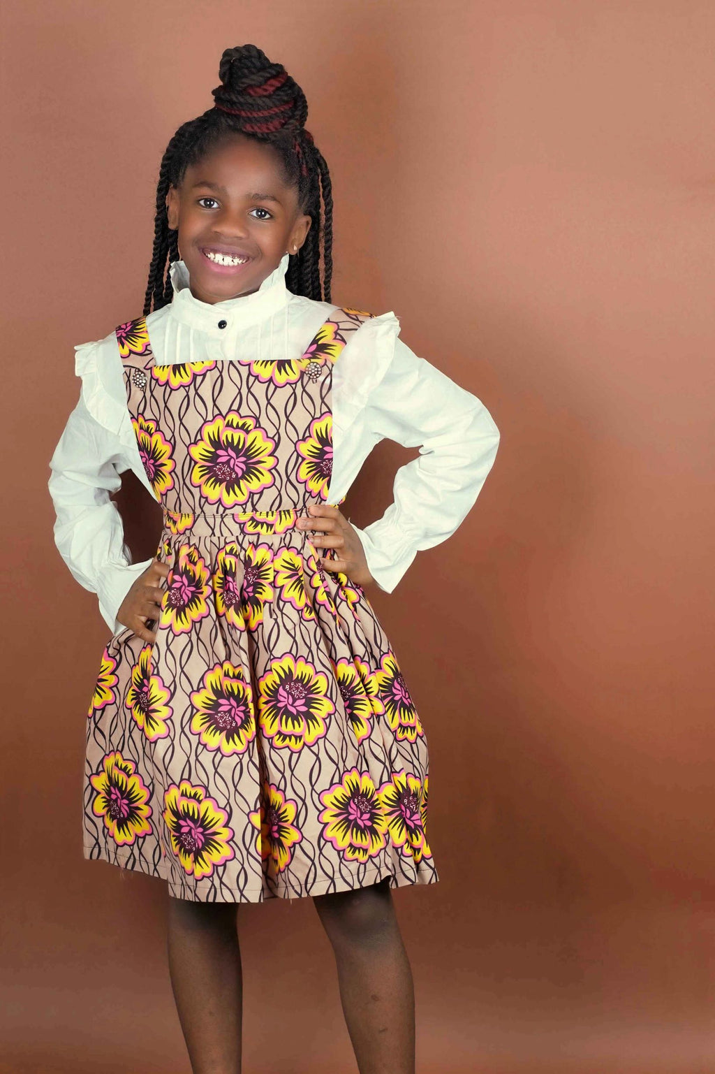 Olabisi Overall Skirt (Kids)   - Okun -Strength- Collection (Yellow, Brown & Pink)