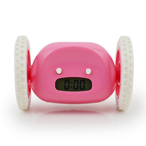 Wheels Alarm Clock with Backlit Extra Loud for Heavy Sleeper Adult or Kid Bedroom, Funny, Rolling, Run-away, Moving, Jumping